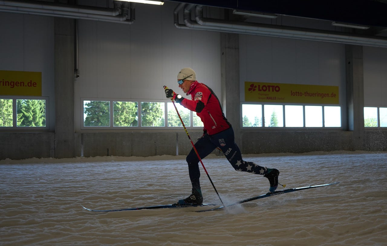 Simi Hamiton classic training in Oberhof ski tunnel (c) Matt Whitcomb