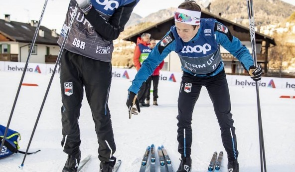 Andrew Musgrave testing classic skis in Val Di Fiemme