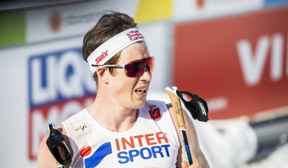 Andrew Musgrave in the finish area in Seefeld 2019 WSC