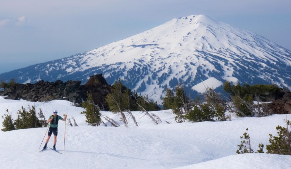 Simi Hamilton skiing in spring conditions in Oregon (c) Caitlin Patterson